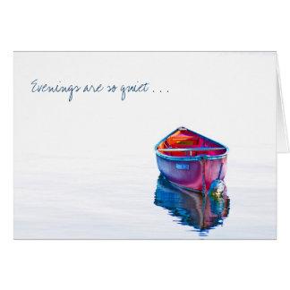 Faltándole canoa roja de la tarde reservada en tarjeta de felicitación