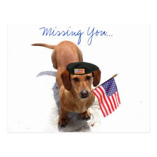 Faltándole postal patriótica del dachshund