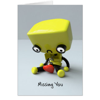 Faltándole - robot triste tarjeta de felicitación