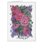 Faltándole rosas rosados de la acuarela tarjeta de felicitación