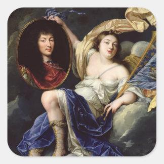 Fama que presenta un retrato de Louis XIV Calcomanía Cuadradas
