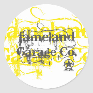 Fameland Garage Company - Yellow Edition Round Sticker