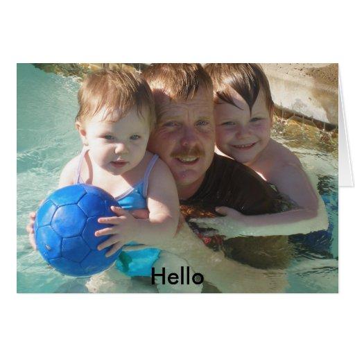 familia (2), hola tarjeta de felicitación