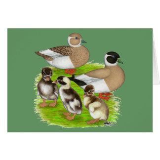 Familia a lápiz del pato de la llamada tarjeta pequeña