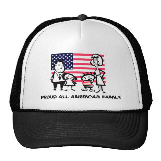 Familia americana orgullosa gorras