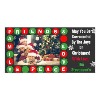 Familia, amigos, paz y amor tarjetas personales con fotos
