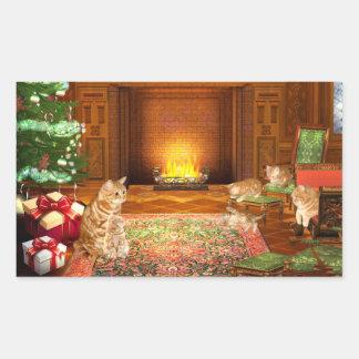Familia anaranjada del navidad del gato de tabby pegatina rectangular