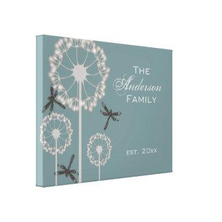 Familia azul de las libélulas impresión en lienzo
