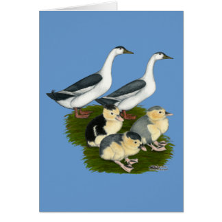 Familia azul del pato de la urraca tarjeta pequeña