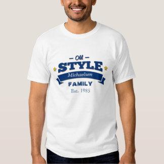 Familia azul del viejo estilo personalizada remeras