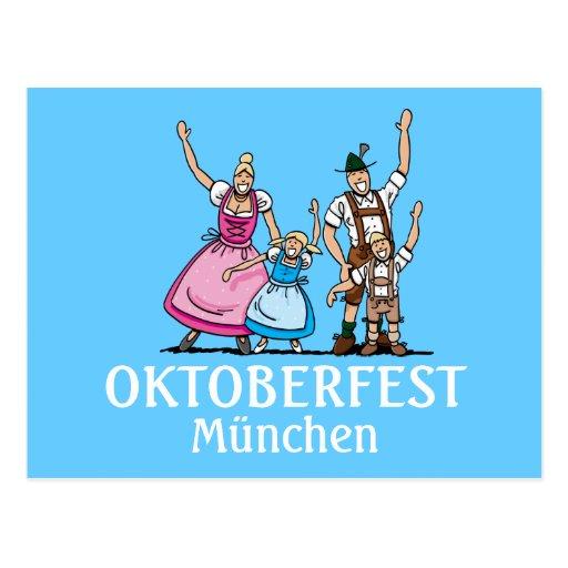 Familia bávara feliz de Oktoberfest München de la  Postales