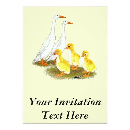 """Familia blanca del pato del corredor invitación 5"""" x 7"""""""