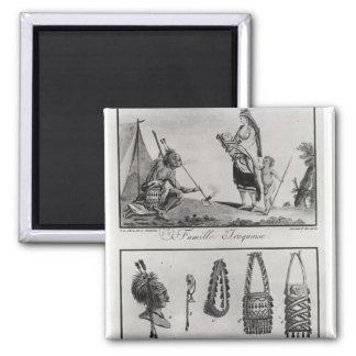 Familia, brazos y ornamentos Iroquois Imán Cuadrado
