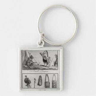 Familia, brazos y ornamentos Iroquois Llavero Cuadrado Plateado