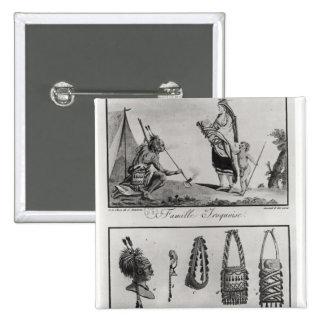 Familia, brazos y ornamentos Iroquois Pin Cuadrada 5 Cm
