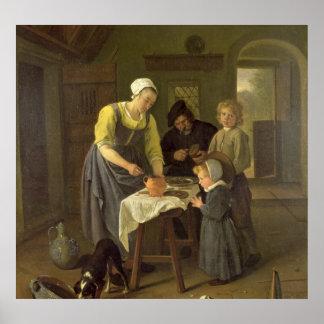 Familia campesina en el tiempo de la comida, c.166 poster