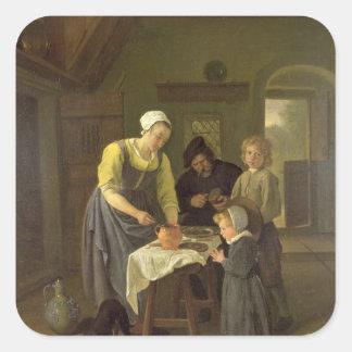 Familia campesina en el tiempo de la comida, pegatina cuadrada