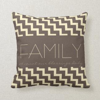Familia, Chevron de color topo/poner crema de las Cojín Decorativo