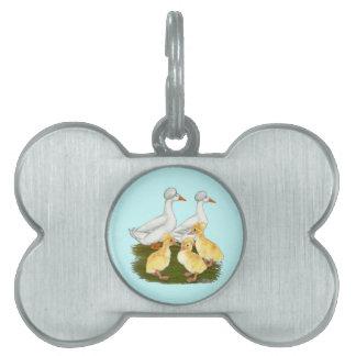 Familia con cresta del pato placas de nombre de mascota