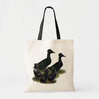 Familia con cresta negra del pato bolsa
