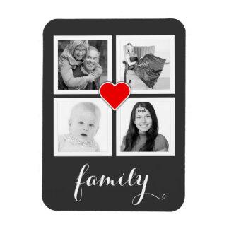 Familia con cuatro fotos y corazones imanes