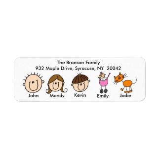Familia con las etiquetas de dirección del gato