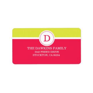 Familia con monograma de encargo del monograma dul etiquetas de dirección
