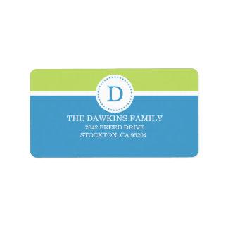 Familia con monograma de encargo del monograma dul etiqueta de dirección