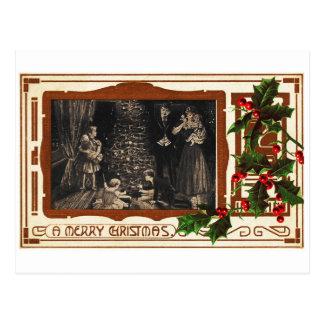 Familia de acebo del vintage del navidad de Deco Postales