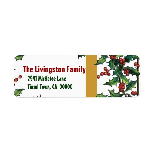 Familia de acebo roja del oro verde del navidad etiqueta de remite