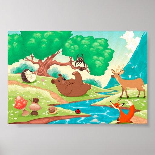 Familia de animales en la madera póster