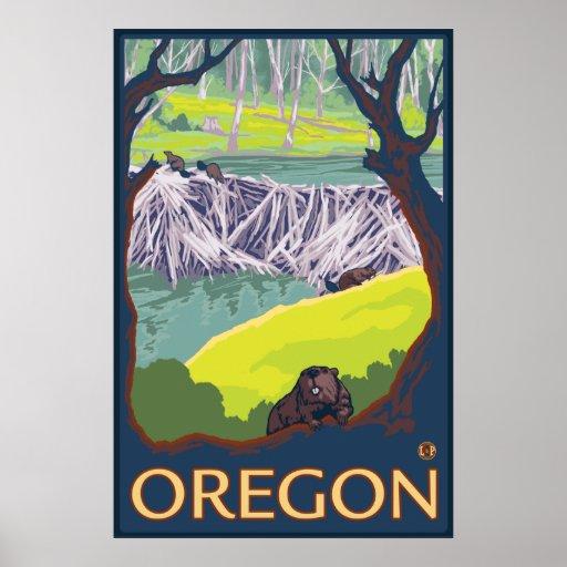 Familia de castores que hacen una presa - Oregon Póster