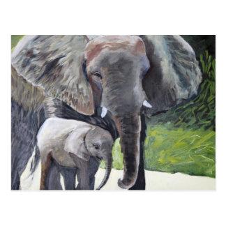 Familia de elefantes postales