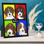 Familia de encargo del beagle del arte pop del dib placas de madera