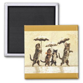 Familia de gato con los paraguas que camina en imán cuadrado