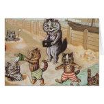 Familia de gato en la playa felicitaciones