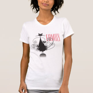Familia de gato negro - camiseta remera
