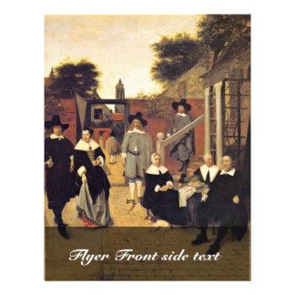 Familia de Holländische de Hooch Pieter De Folleto 21,6 X 28 Cm