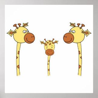 Familia de jirafas. Historieta Poster