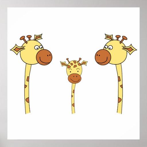 Familia de jirafas. Historieta Póster