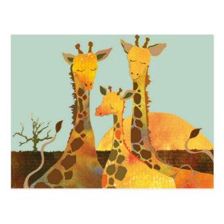 Familia de la jirafa en África Postales