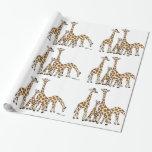 Familia de la jirafa en Brown y papel de embalaje Papel De Regalo
