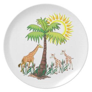 Familia de la jirafa platos
