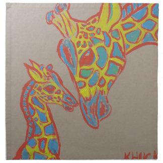Familia de la jirafa servilleta imprimida