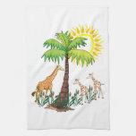 Familia de la jirafa toallas de mano