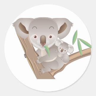 Familia de la koala pegatina redonda