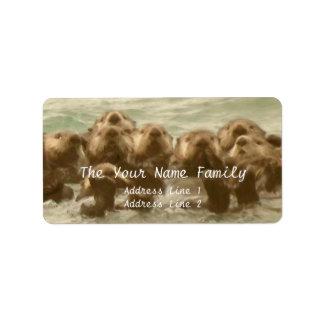 Familia de la nutria de mar etiqueta de dirección
