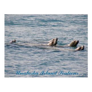 Familia de la otaria, isla de Unalaska Tarjeta Postal