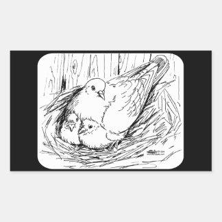 Familia de la paloma rectangular pegatina