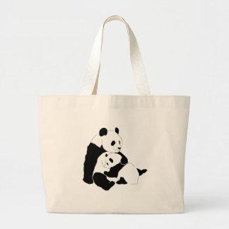 Familia de la panda bolsa tela grande